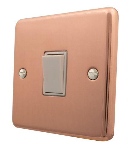 G&H CBC1W Standard Plate Bright Copper 1 Gang 1 or 2 Way Rocker Light Switch